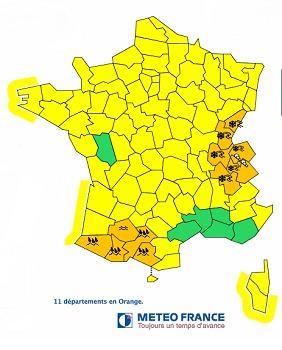 Météo France met en garde contre les risques d'inondation et de crues dans le Sud-Ouest et de verglas et d'avalanches dans les Alpes et le Jura - DR : Météo France