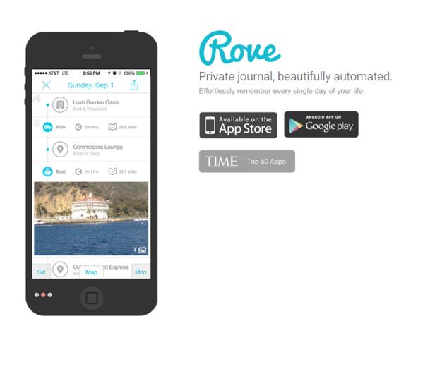 Rove, édité par Zetrip, est un carnet de voyage numérique. L'application enregistre les déplacements pour construire un journal de bord géolocalisé. DR Capture d'écran