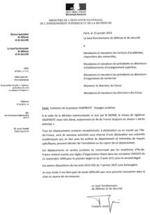La note du ministère de l'Education levant la suspension des sorties scolaires en Île-de-France - Cliquez pour zoomer
