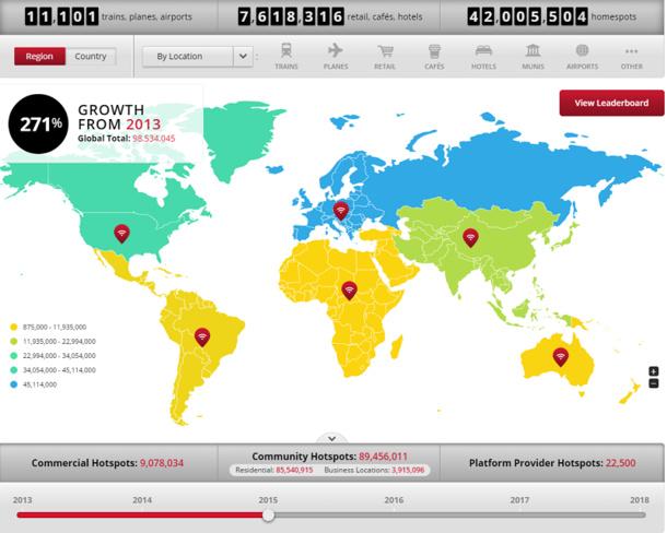 Sur la carte interactive d'iPass, l'Europe, l'Amérique du Nord et l'Asie du Sud-Est apparaissent comme les acteurs proposant le plus de hotspots wifi au 4 février 2015 - DR : IPass