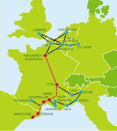 Le réseau des lignes iDBUS en France, Italie, Grande Bretagne, Pays-Bas, Belgique, Allemagne et Espagne - DR : iDBUS