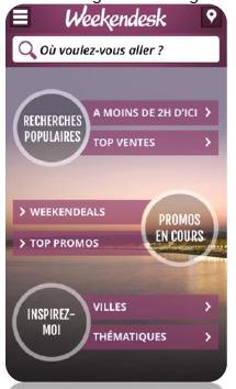 L'application mobile de Weekendesk est disponible gratuitement sur l'Apple Store - DR : Weekendesk
