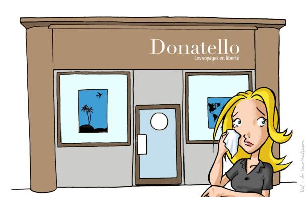 Donatello : cette belle entreprise sera liquidée cette semaine et nous la regretterons. Je ne suis qu'une petite agent de voyages blonde et frivole et si je déplore la casse sociale et la disparition de la marque, ce qui m'afflige le plus, c'est le grand n'importe-quoi des dernières semaines - Dessin Raf