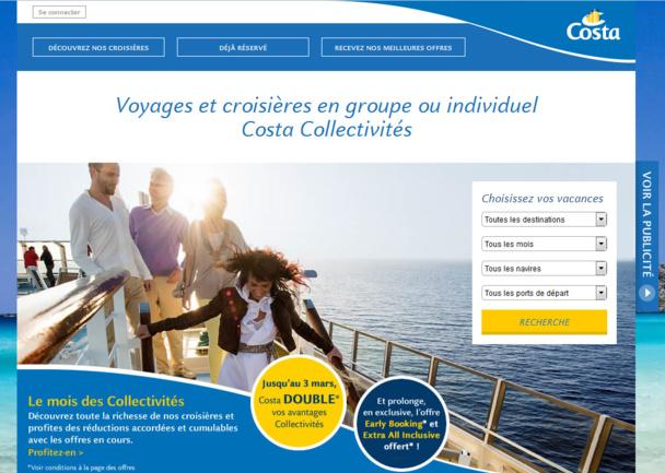 Le site web dédié aux collectivités et CE lancé par Costa Croisières - Capture écran