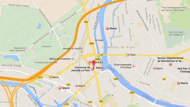 Le salon se tiendra dans la Salle des Fêtes de la Mairie de Joinville-les-Ponts dans le Val de Marne - DR : Google Maps