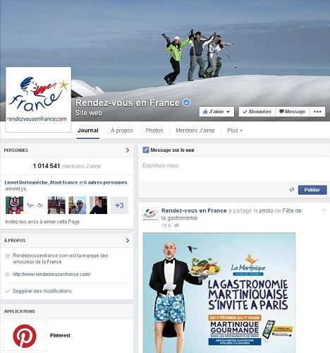 Atout France a regroupé ses 27 comptes internationaux sur une même page début 2015 - DR Facebook Atout France