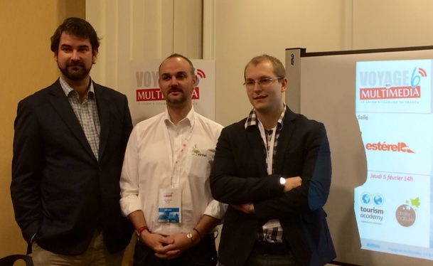 Thomas Yung of Artiref, Gilles Grangier, Director of  Vinivi and Thomas Matthieu, founder of Guest App during the workshop «Comments, internalized or externalized management?» during the Travel in multimedia trade-show in Saint-Raphaël © Mathilde Khlat
