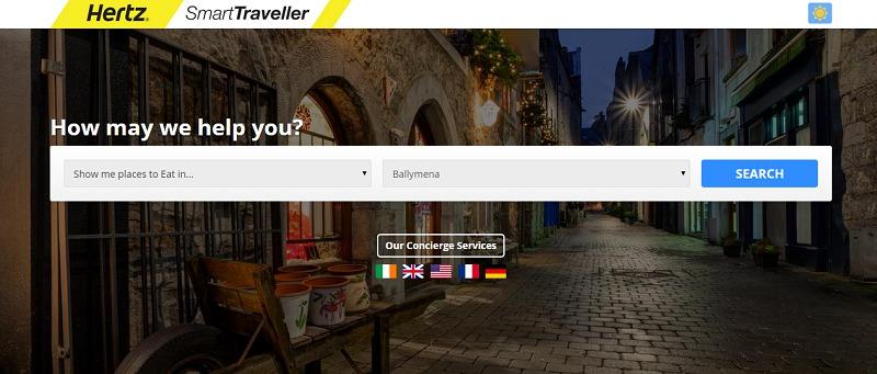 Hertz lance Hertz Smart Traveller, un service de conciergerie web pour les touristes de passage en Irlande. DR Capture d'écran