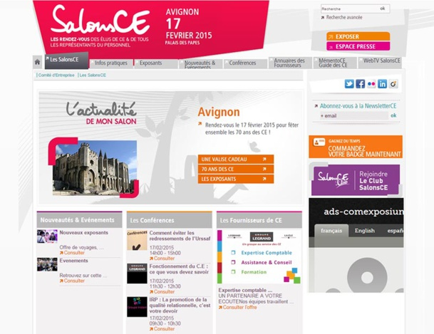 SalonsCE Avignon se tiendra le 17 février 2015, au Palais des Papes - DR : Capture d'écran SalonsCE