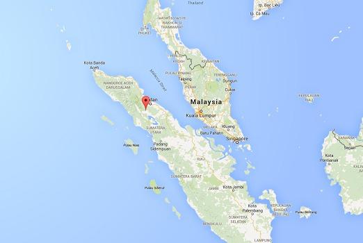 Le volcan Sinabung est situé au Nord de l'Île de Sumatra en Indonésie - DR : Google Maps