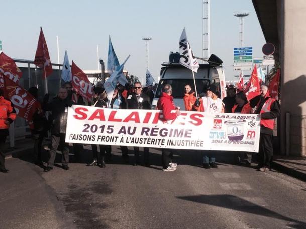 Environ 30% des salariés d'aéroports de Paris (ADP) ont manifesté pour réclamer des revalorisations salariales. DR-syndicats.