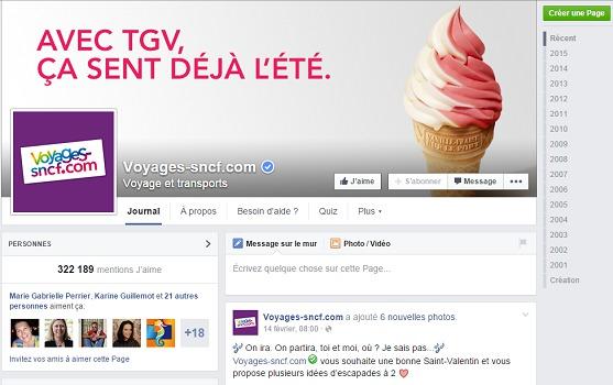 En sollicitant Voyages-SNCF sur Facebook ou Twitter, les clients sont garantis d'avoir une réponse en 2 heures maximum - Capture d'écran