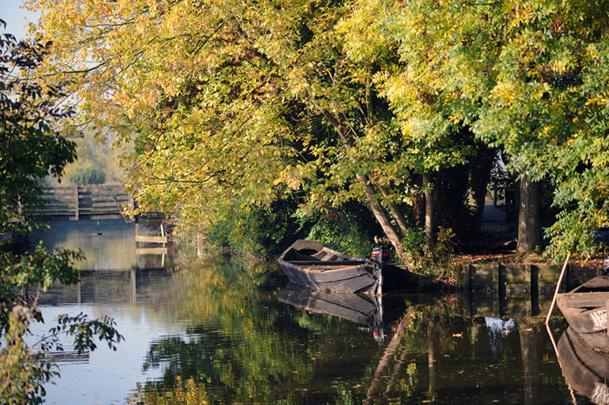 Les terres du marais audomarois sont parcourues par 700 kilomètres de chemins d'eau, les watergangs. C'est par la voie des eaux que se font les plus belles visites : canoë, barque, bateau de promenade - DR : OT St Omer