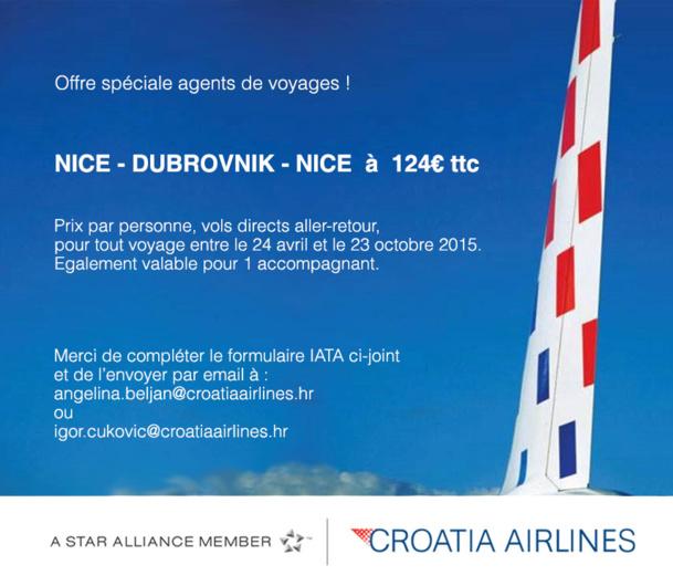 Croatia Airlines : tarif agent de voyages entre Nice et Dubrovnik