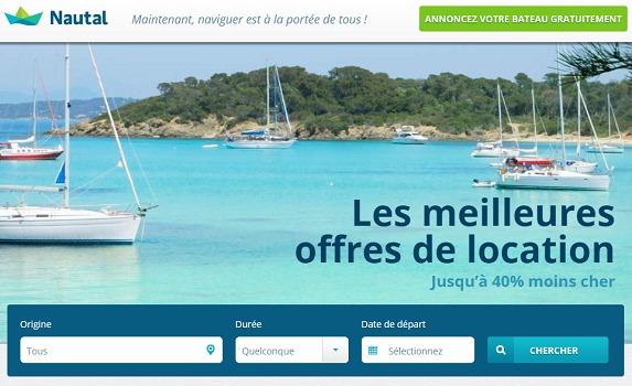 Sur sa plateforme, Nautal propose des bateaux de particuliers et de loueurs professionnels - Capture d'écran