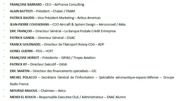La liste complète des membres du jury du Challenge ENAC Alumni Avico - Cliquez pour zoomer