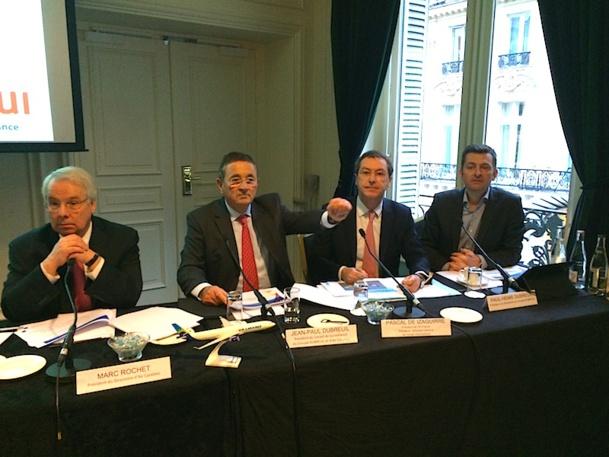 Marc Rochet, Jean-Paul Dubreuil, Pascal de Izaguirre et Paul-Henri Dubreuil ont présenté leur projet de rachat de Corsair par Air Caraïbes. DR-LAC