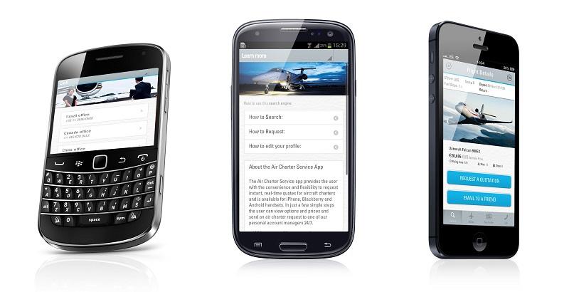 """ACS a développé une application mobile, """"Private Jet Prices"""", mais profite de l'investissement pour remettre à jour son site mobile - DR : ACS"""