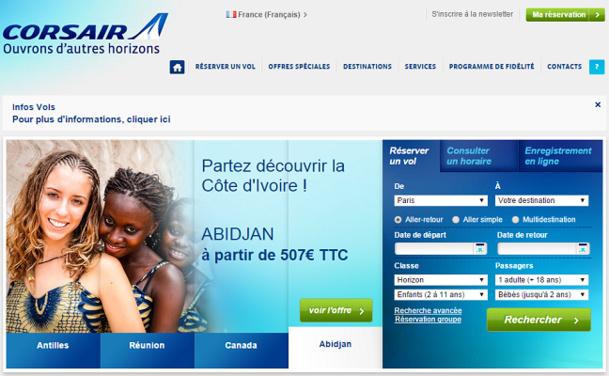 Corsair met à jour le statut de ses vols pendant la grève sur son site Internet - Capture d'écran
