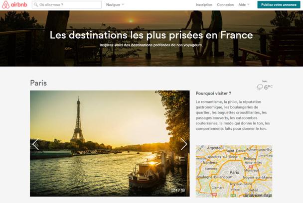 La France vient de devenir la première destination mondiale d'AirbNb avec plus de 40 000 logements proposés en île de france. DR Capture d'écran