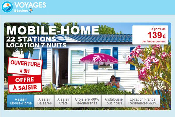 L'opération Mobil-Home propose des offres à partir de 139 € en France, au Printemps et en Automne - Capture écran