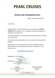 Le courrier adressé aux clients pour annoncer l'annulation des croisières Portuscale Cruises en 2015 - Cliquez pour zoomer
