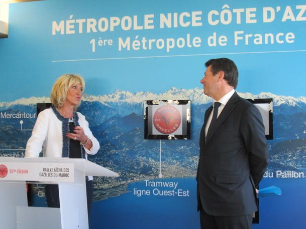 D. Serra, créatrice et organisatrice du Rallye et C. Estrosi député-maire de Nice, la ville de départ de la 25ème édition, lors de la présentation dans les locaux parisiens de la Maison Métropole de Nice Côte d'Azur - DR : M.S.