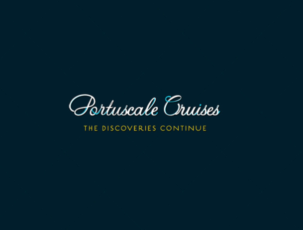 On the Portuguese website of Portuscale Cruises, only the homepage with a logo and slogan can be seen - Screen Shot