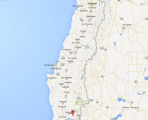 Le volcan est situé à 760 km de Santiago, la capitale du Chili - DR : Google Maps