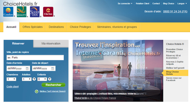Capture d'écran du site de ChoiceHotels.fr - DR