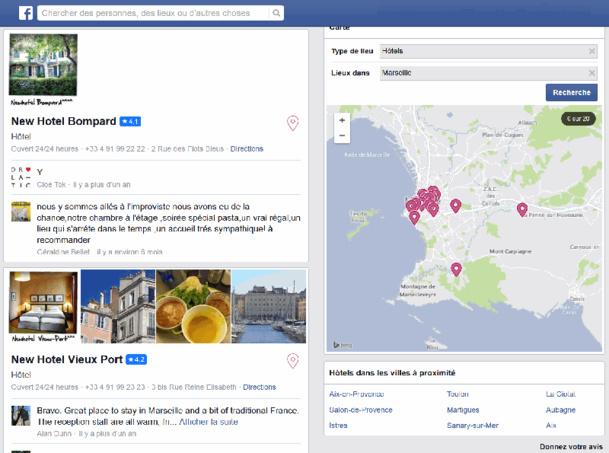 Cette géolocalisation combinée à la vitesse de déplacement (à pieds ou en train) peuvent devenir des signaux pour apporter les résultats les plus pertinents à un utilisateur - DR : Capture d'écran Facebook Places