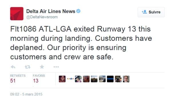 New York : un avion fait une sortie de piste à La Guardia, les vols perturbés