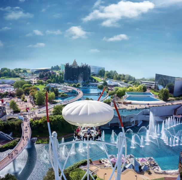 Une partie de la vue aérienne du Futuroscope, 2e parc d'attraction français.