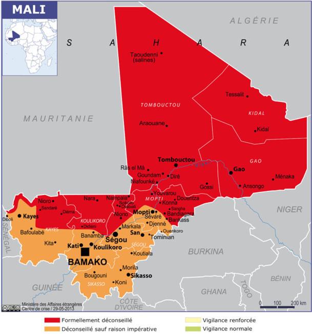 La carte du Quai d'Orsay concernant les déplacements au Mali - DR MAE