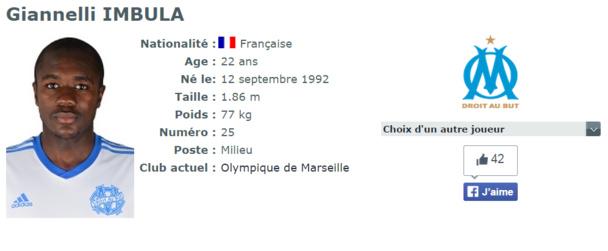 La fiche de Gianelli Imbula sur le site Internet de la LFP - Dr : LFP.fr