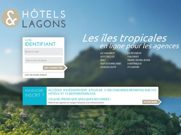 La page d'accueil du nouveau site B2B Hôtels & Lagons lancé par Gérard La Rocca - Capture Ecran