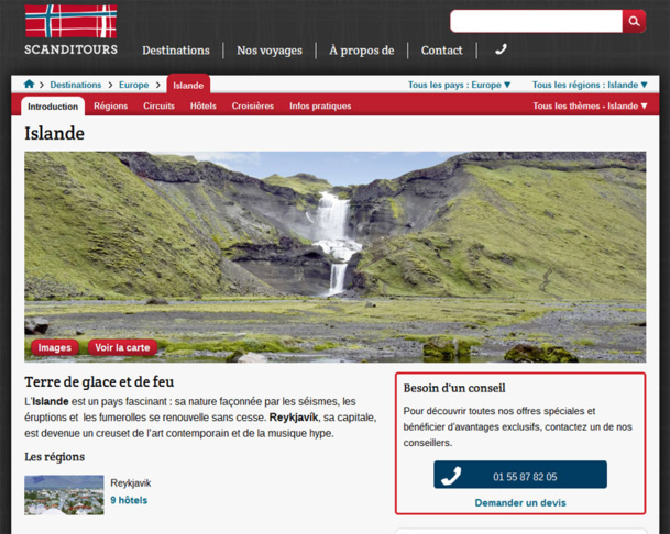 Le site web de Scanditours - Capture écran
