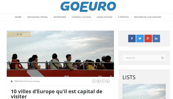 GoEuro établit un Top 10 des villes européennes non-capitales à visiter sur son blog - Capture d'écran