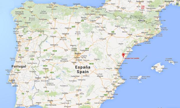 L'aéroport de Castellon est situé à 70 km au Nord de Valence - DR : Google Maps