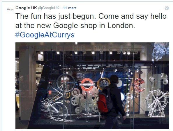 Google a ouvert mercredi dernier sa première boutique sur Tottenham Court Road à Londres. ©Twitter