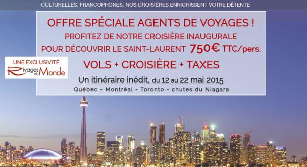 Rivages du Monde : tarifs AGV pour la croisière de Québec aux chutes du Niagara