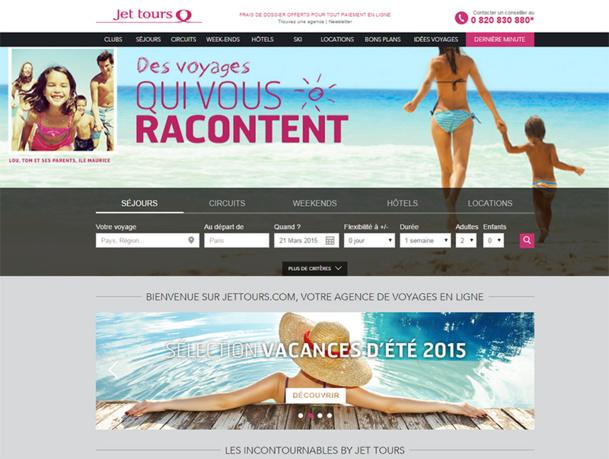 Un large espace est consacré aux idées voyages de Jet tours en homepage pour orienter le choix des clients - DR : Jet tours