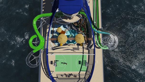 Vue sur le futur parc aquatique du MSC Seaside - DR : MSC Croisières