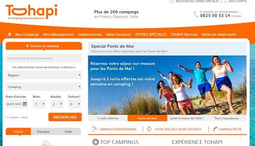 Capture d'écran du site Internet de Tohapi