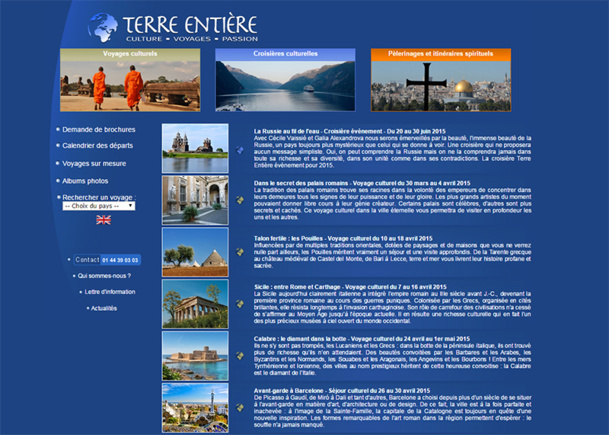Terre Entière, known for its cultural and humanist trips was put under judicial review on March 12, 2015 - Screenshot Terre Entière