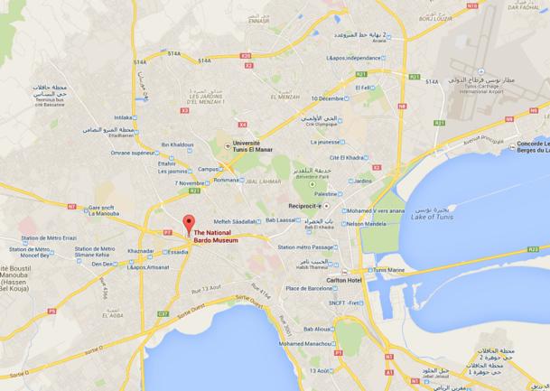 Le Musée du Bardo est situé en plein centre de Tunis - DR : Google Maps