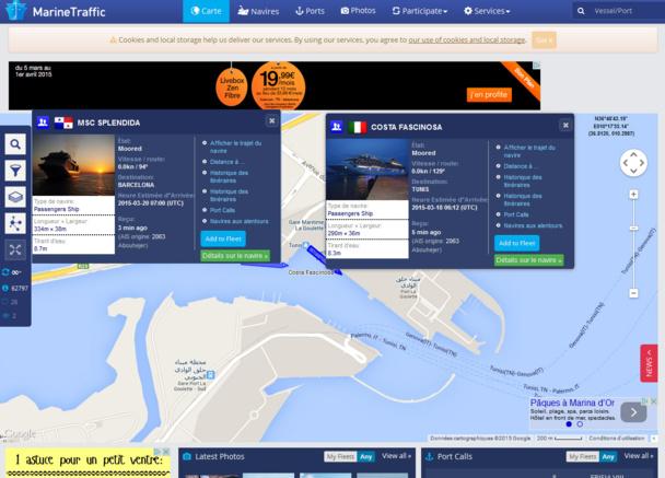 Copie d'écran du site MarineTraffic.com - DR