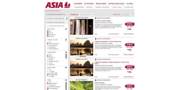 Il est possible de filtrer plus clairement les produits d'Asia. DR Capture d'écran Asia