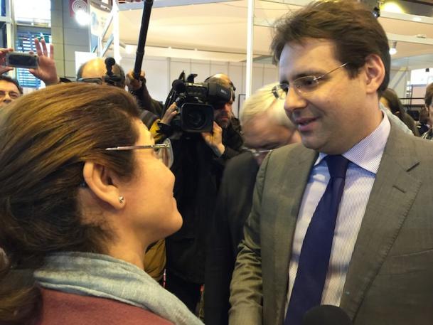 Matthias Fekl, le secrétaire d'état au tourisme, a témoigné de son soutien à Leila Tekaia, la directrice de l'ONTT - DR : ONTT