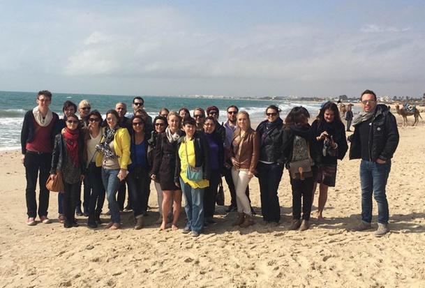 Les agents de voyages conviés à l'éductour Voyamar à Hammamet, posent à Orangers Beach - DR : Voyamar